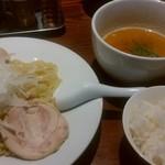 RAMEN 風見鶏 - 風見鶏つけ麺(味玉)、ライス