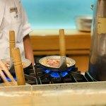 万ん卯 - 調理中1:お肉投入