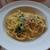 ラ・パウザ - [料理] 蒸し鶏とほうれん草の明太クリームソースパスタ 全景♪W
