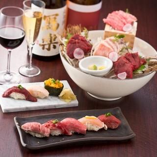肉寿司に合うワインもご用意