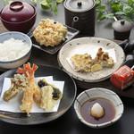 天ぷら つな八 - 季節ランチ かきと秋野菜定食