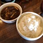 中華バルSAISAI。 - 黒酢のスープ、ご飯