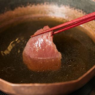 """お肉、野菜を引き立てる伝統の""""和牛だし"""""""