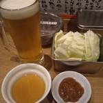 串カツ イチフク - 生ビールとお通し
