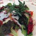 レ・スリジェ - 前菜 ボイルタコのスライスと千切野菜のサラダ レモンと黒オリーブ風味。<2012_03>
