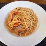 パッパーレ - ●パスタランチ 2,000円 ワタリガニのトマトクリーム味スパゲティ+200円