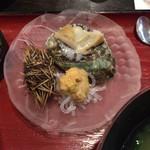 いけすやまもと - 別皿でウニとアワビ(小さめ(^^;)が付きます