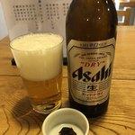 吾妻橋 やぶそば - 小瓶ビールに蕎麦味噌。