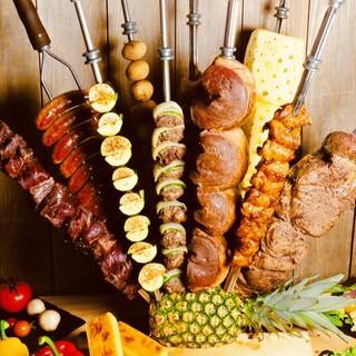 都内最多20種類のシュラスコ食べ放題