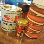 らーめん みかん - 調味料は胡椒、七味、お酢。