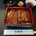 うなぎ お㚙川 - 東西鰻重(上) 2700円(税別) + 肝吸い変更 200円(税別)