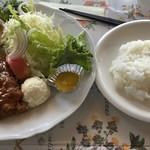 野の花 - ポークカツレツ味噌ソース 1,380円。ソースよかった!野菜いっぱい!豆腐とポテトサラダも添えてありました。