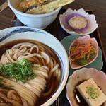 長命うどん - 料理写真:天丼ランチのころうどん。うどんはカツオがきき醤油辛さがあるうどん。