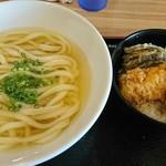 うどん屋 清 - 日替わりランチ  かけうどん(温)とかしわ天丼 750円