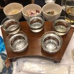 清龍酒造 - ドリンク写真:乾杯用のビール、日本酒各種、芋焼酎、梅酒(これで2合半くらいとか)基本セット