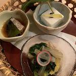 119101086 - ほうれん草のお浸し、秋刀魚の生姜煮、里芋豆腐田楽