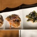 肉処 和匠 - 前菜蓮根金平、小魚マリネ、小松菜和え