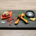 USHIGORO S. - 松茸と牛ヒレカツ かぼすと雪塩