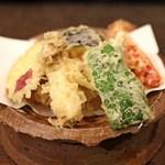 手挽きそば 一心 - 野菜天ぷら