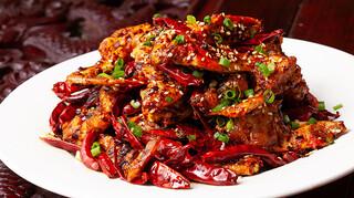 知音食堂 - ワタリガニと山椒と唐辛子炒め