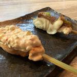 やきうお処 宵酔 - サーモンのサウザンソース、鯛のサビ焼き