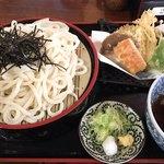 麺処びわ - 野菜天ぷら付きの冷たいうどんです。