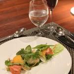 119223160 - 北海道タラの白子フリット                       ほうれん草ソースフルーツトマト柿のサラダ