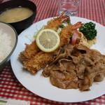 しょうが亭 - エビフライと生姜焼き