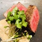 あらいかわ - 前沢牛のサーロイン マッシュルームのソース 焼き椎茸