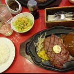 レストラン アライ - リブロース200g+ハンバーグ150g