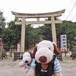 味司 野村 - 一宮駅から歩いて3分くらい、吉備津彦(きびつひこ)神社にとうちゃ~く!桃太郎のモデルになった吉備津彦命(きびつひこのみこと)を祭る神社なんだよ。ちびつぬ「岡山と言えば桃太郎よね~」