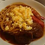 スパゲティ パプリカ - ランチのスペシャルバーグ、サイズ1.5倍(税込825円)