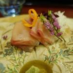 近江懐石 清元 - 岩魚の薄造り