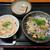 本格手打うどん あらた - 料理写真:夜の定食セット1080円の炊き込みご飯とおかず(春雨と野菜のサラダ)