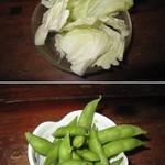 やきとり大吉 - 2019年の「お通し(枝豆、キャベツ)」220円