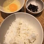 Menyakyouto - ご飯 ( ´θ`) 昆布佃煮 生玉子