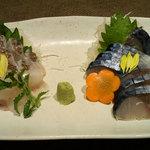 11944028 - 「桜鯛刺 @680円」と「銀鯖八戸前沖〆さば @575円」 〆さば、美味しい!