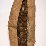 自然薯の館 - 三角油揚げに納豆と刻みネギをサンド