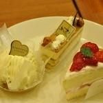 洋菓子 きのとや 大丸店 - チーズモンブラン 315円、キャラメルナッツケーキ 378円、いちごシフォン 378円