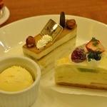 洋菓子 きのとや 大丸店 - バニラアイス、キャラメルナッツケーキ 378円、フルーツミルクレープ 399円