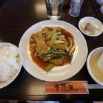 レストラン華林芭  - 料理写真:茄子と豚肉の辛子炒め¥950(ライス・スープ・漬物・ドリンク・デザート付)