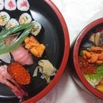 新富寿司 - 特上にぎり+あなきゅう、特上ちらし