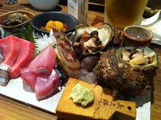 博多磯ぎよし 下川端店 - 刺し盛り♪鈴のお皿ででてきました(^^)