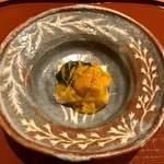 119506990 - 昆布森の生海胆と 汲み上げ湯葉豆腐 菊花ジュレ掛け