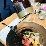 ミクニ マルノウチ - メイン(肉料理)/国産牛サーロインステーキ  赤ワインソース山葵仕立て