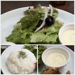 MORRIS'HIPPO - ◆野菜・・少し甘めのドレッシングがかけられています。 ◆タルタルソース ◆ご飯の質は普通。