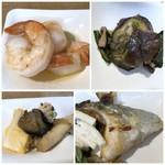 オールデイダイニング カメリア - *「海老のアヒージョ」・・美味しい。 *烏賊のお料理 *お魚の塩焼き風。 *茄子のお料理。