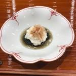 鮨旬美西川 - 茄子の揚げ浸し 山芋乗せ