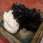Nihonshuhanatare - 羅臼昆布の佃煮、マスカルポーネチーズ