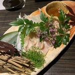 九州薩摩地鶏×個室居酒屋 由布院 - 地鶏のタタキ盛り合わせ